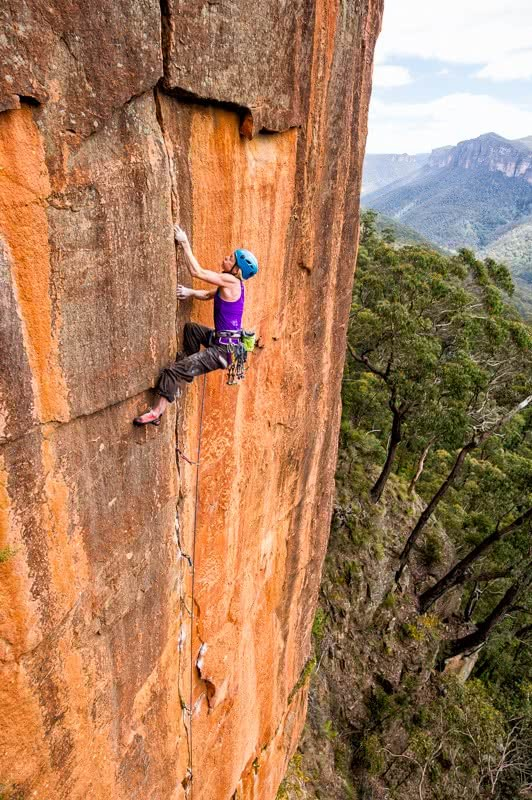 simon carter, trad climbing, monique forestier, multi-pitch, hall of heroes, blue mountains, nsw