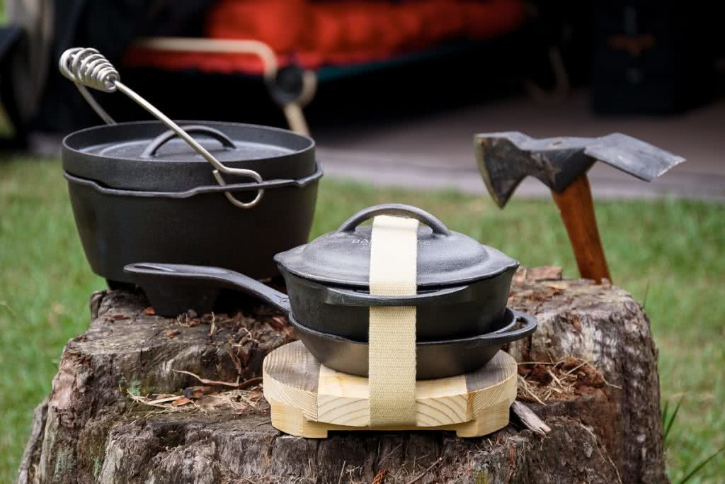 Barebones Living At The AMK Glamp Out // Product Launch, Liam Hardy, Cast-Iron-Range, cooking pot set, trivet, axe, gear