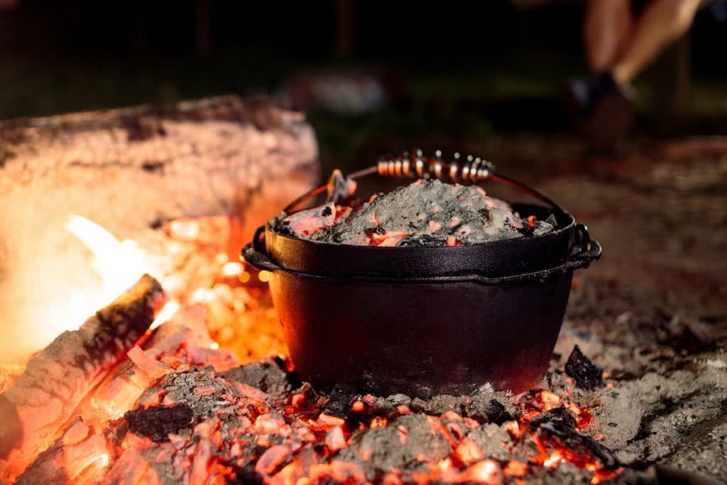 Barebones Living At The AMK Glamp Out // Product Launch, Liam Hardy, Cast-Iron-Range, cooking, campfire, coals, embers, hot, glowing