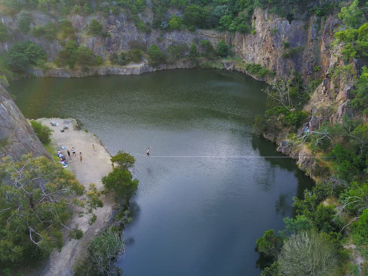 drone at secret quarry, highline, osprey adventure grant, highlining