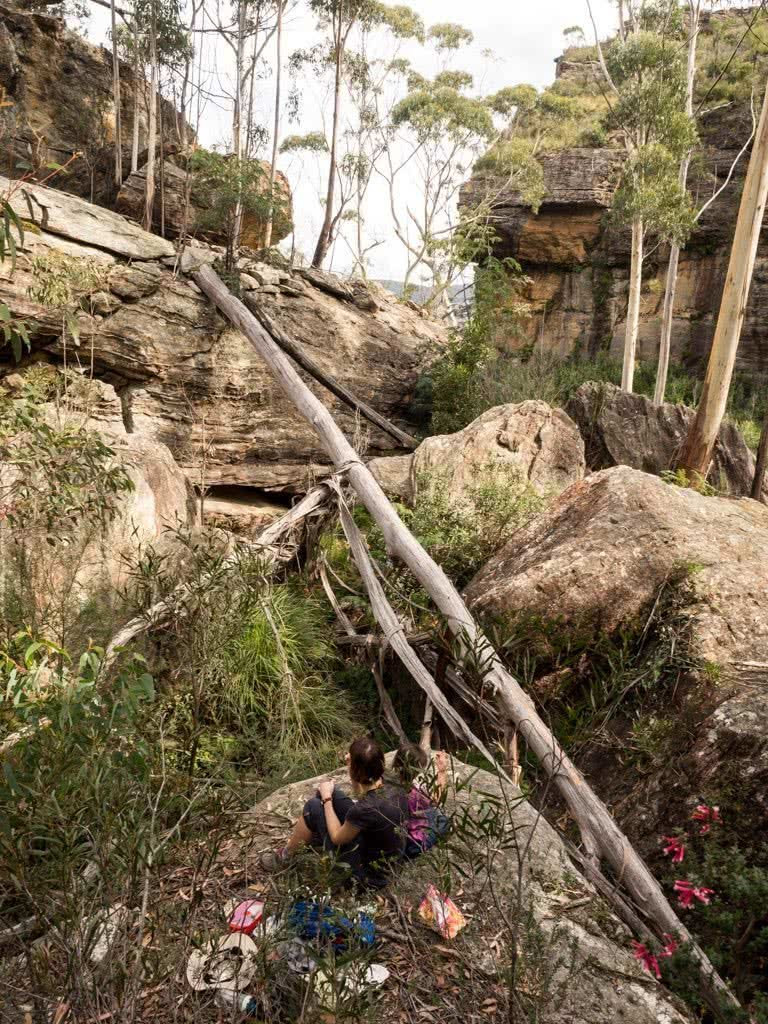 5 Ways You Can Protect Our Wild Places, James Stuart, Hidden creek gully near Pierces Pass, Blue Mountains National Park, fallen tree, boulders, person, sitting