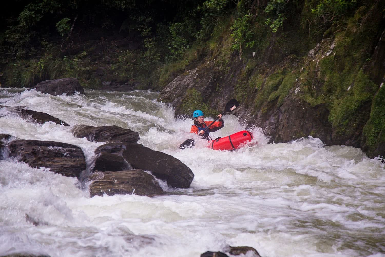 Ode To The River // Canyoning And Packrafting In New Zealand, Xavier Anderson, rapids, woman, paddle, boulders