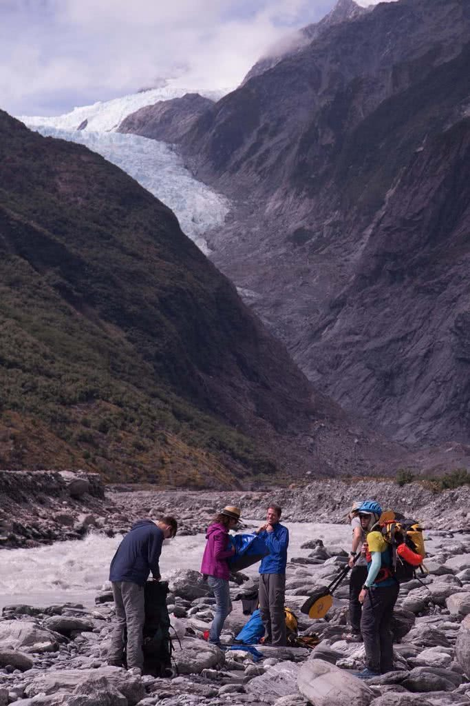Ode To The River // Canyoning And Packrafting In New Zealand, Xavier Anderson, crew, changing, river, rocks, glacier