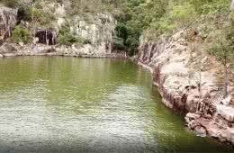 Rock Jumps At A Secret Gorge // Lake Moogerah (QLD), Kate Bennie, rocks, water, trees