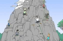 Aidan Howes, Mt Climbers, illustration, types of rock climbing, climbing month