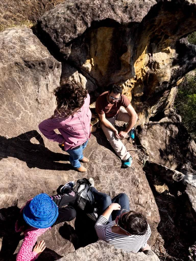 5 Ways You Can Protect Our Wild Places, James Stuart, Muogamarra NP, people, sitting, hanging out, boulder, rock, chatting, talking, resting