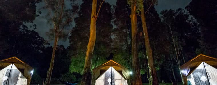 Barebones Living At The AMK Glamp Out // Product Launch, Liam Hardy, Outfitter-Tent-, clamping, lit up, night time, woods, big tent, family sized, front door, welcome, header