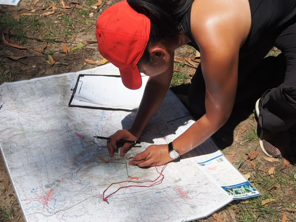 Getting Lost And Finding Fun // Melbourne Wilderness Navigation Course, Jean Baulch, map, compass, looking, red cap, study