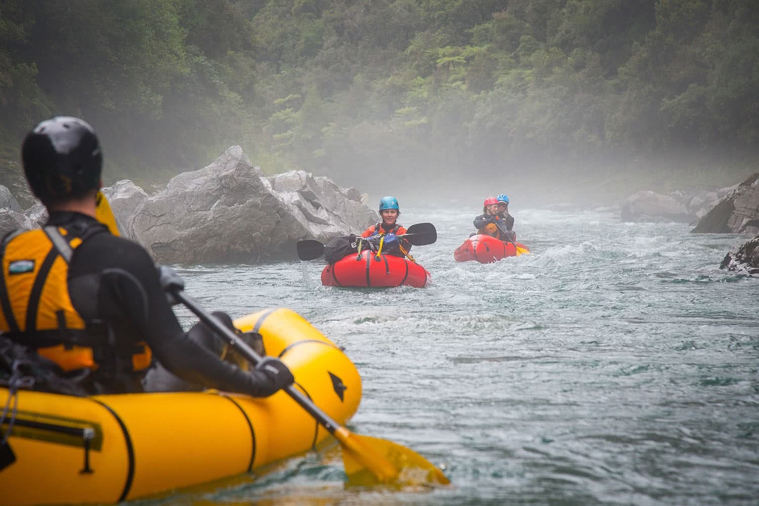 Ode To The River // Canyoning And Packrafting In New Zealand, Xavier Anderson, mist, paddles, helmets, rocks