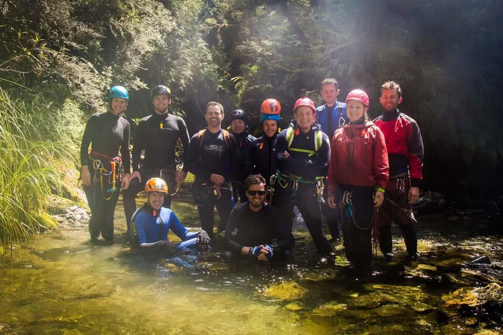 Ode To The River // Canyoning And Packrafting In New Zealand, Xavier Anderson, crew, helmets, carabiners, ready to go