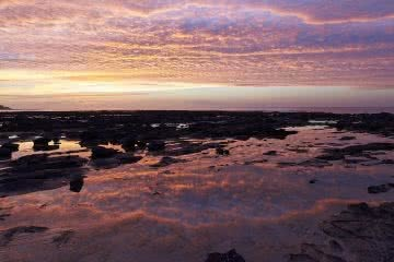 Coastal Sanctuary // Broulee And Broulee Island (NSW), Neil and Gabby Massey, rocks, sunrise, water, clouds, reflection, sky