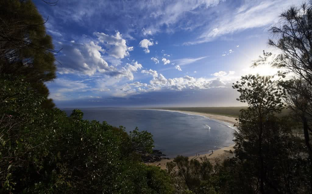 Coastal Sanctuary // Broulee And Broulee Island (NSW), Neil and Gabby Massey, bay, sand, trees, clouds, headland