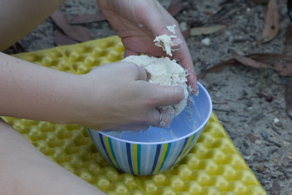 Camp Kitchen // Indian Style Lentils Recipe, Rachel Dimond, combine to dough, bowl, hands, kneading