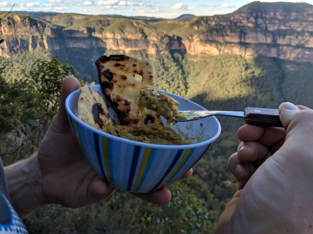 Camp Kitchen // Indian Style Lentils Recipe, Rachel Dimond, dinner with a view, bowl, escarpment, lookout, fork