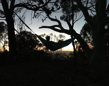 Saturday Night In The City // Mt Majura Sunset Hike (ACT), Mattie Gould, Hammock, silhouette, night time, dusk, sunset, trees, lazing, watching, peaceful