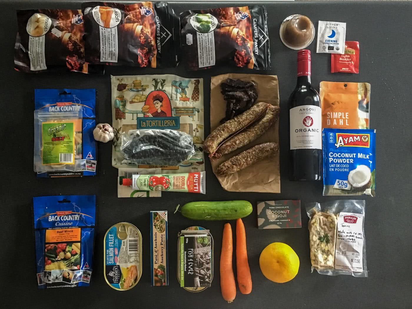 Food is Fuel // A Guide To Healthy Eating In The Wild, Amelia Gillies, ingredients, food, packing, kit, carrots, cucumber, rice, wine, dehydrated food.