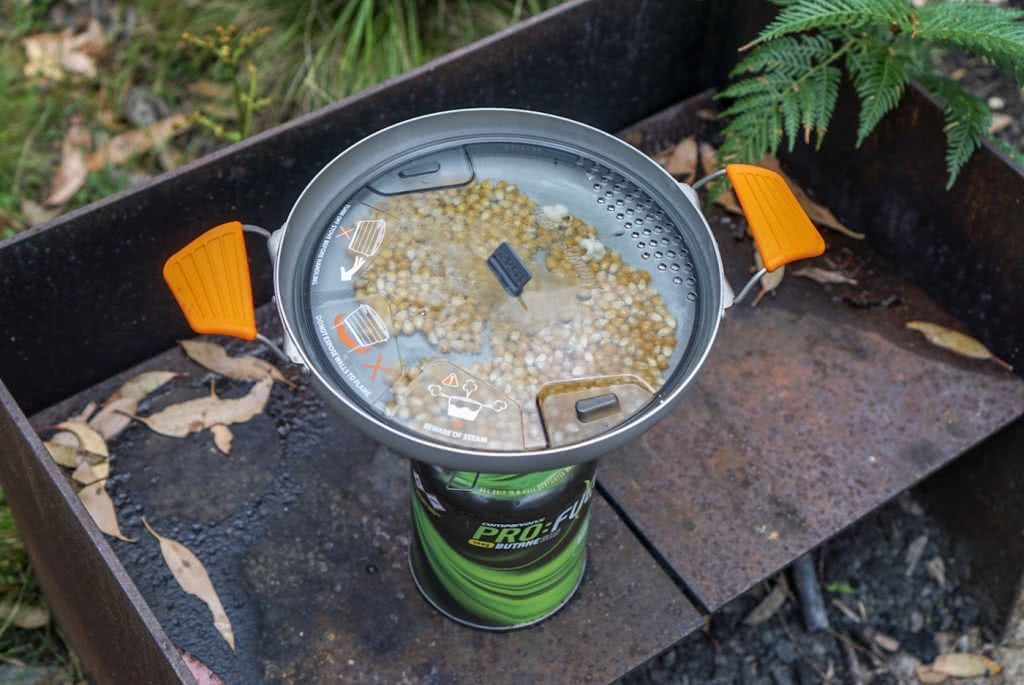 Food is Fuel // A Guide To Healthy Eating In The Wild, Amelia Gillies, popcorn, camping stove, wok, pan, lid