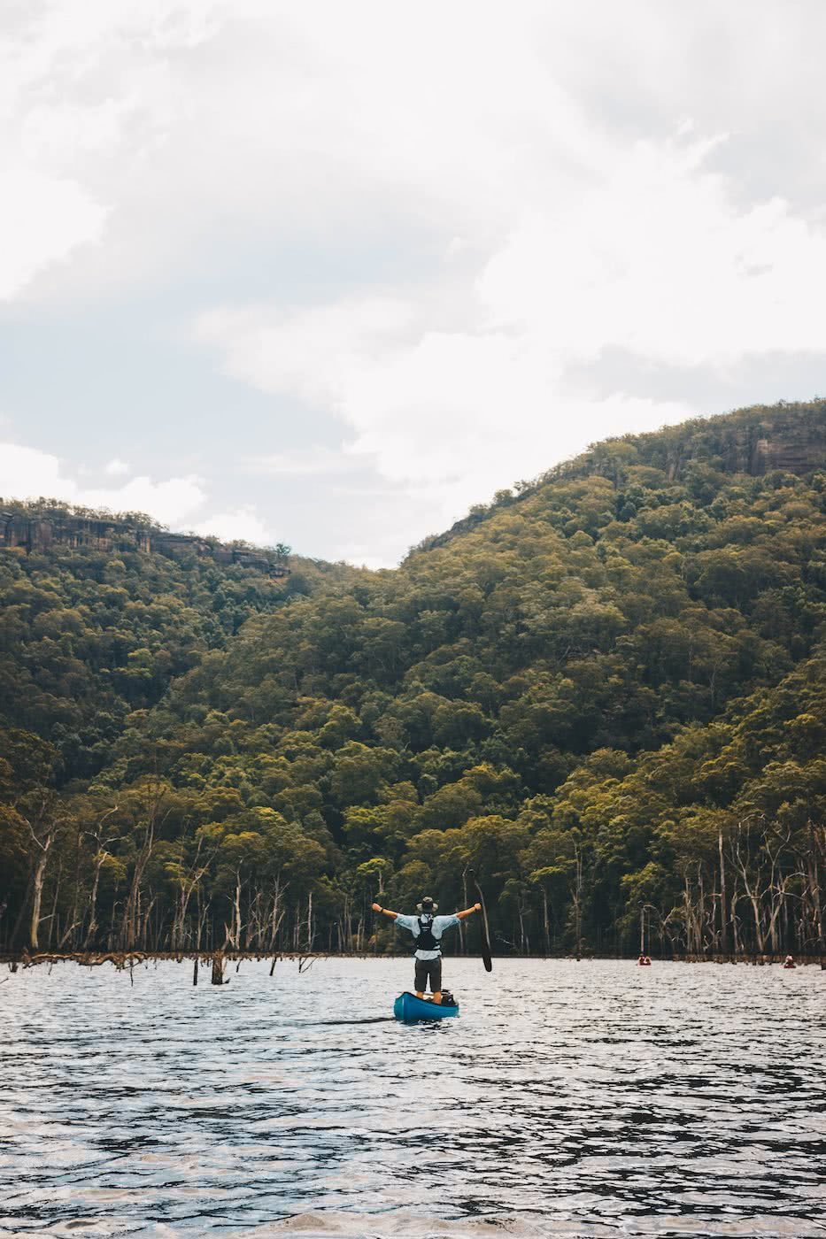 When Everything Flows // Kangaroo Valley Canoeing Escape, Aron Hailey, joy, canoe, river, awe, arms out, trees, forest, hike club series