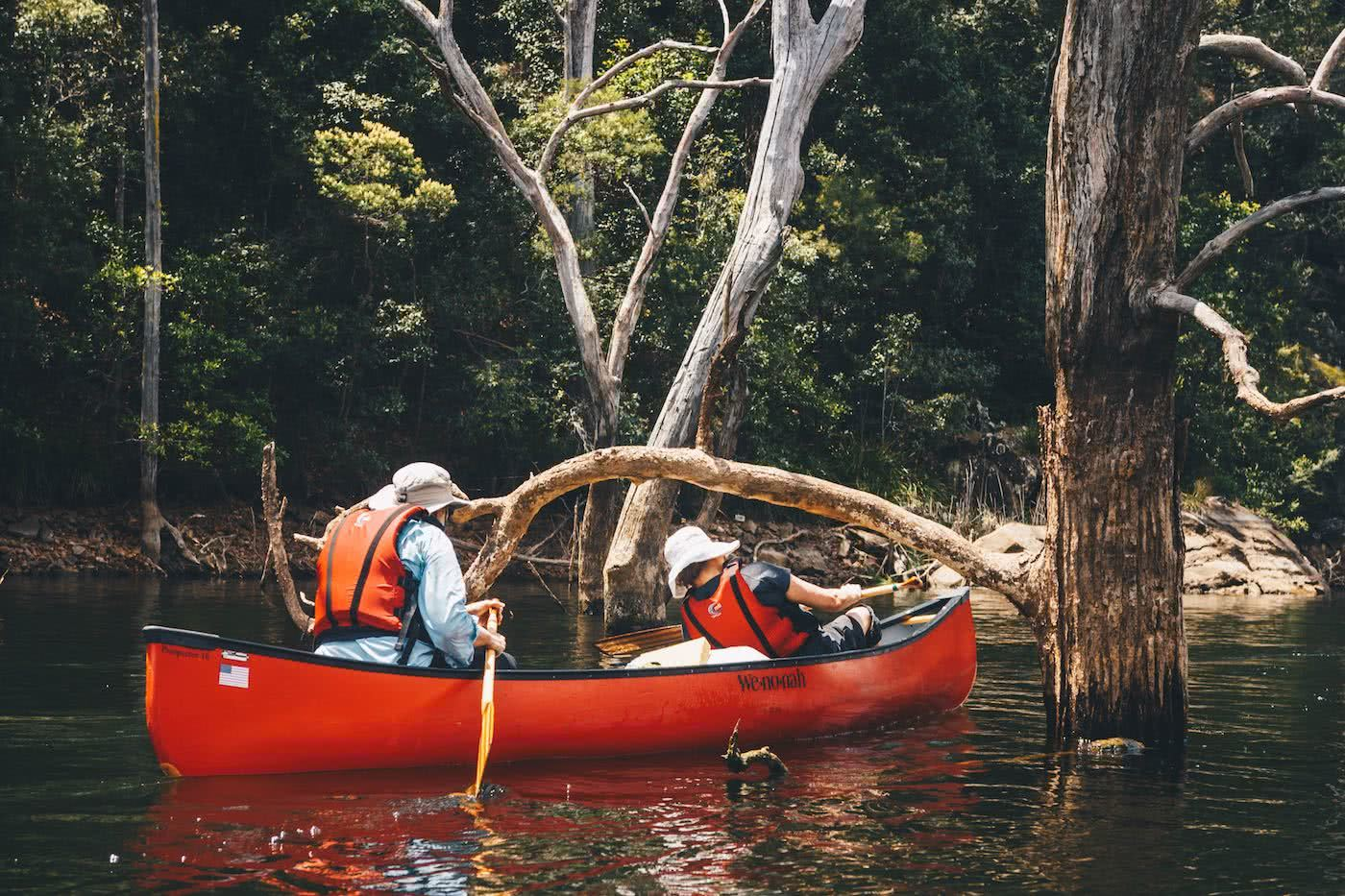 When Everything Flows // Kangaroo Valley Canoeing Escape, Aron Hailey, bough, ducking, canoe, buoyancy aid, paddle