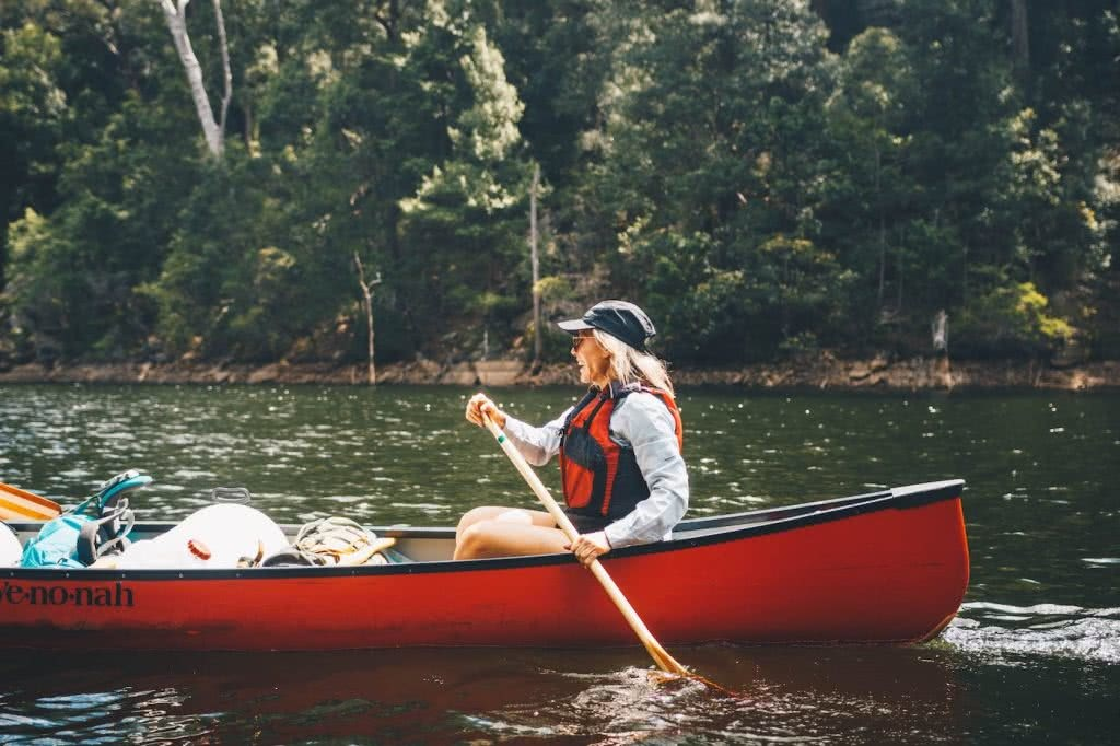 When Everything Flows // Kangaroo Valley Canoeing Escape, Aron Hailey, canoe, gear, laden, packed, saddle, buoyancy aid, trees,
