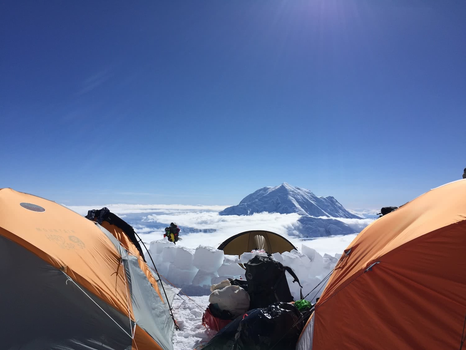 Camp 2 on Denali, mountaineering, dominic douglas, tents, pro climbers