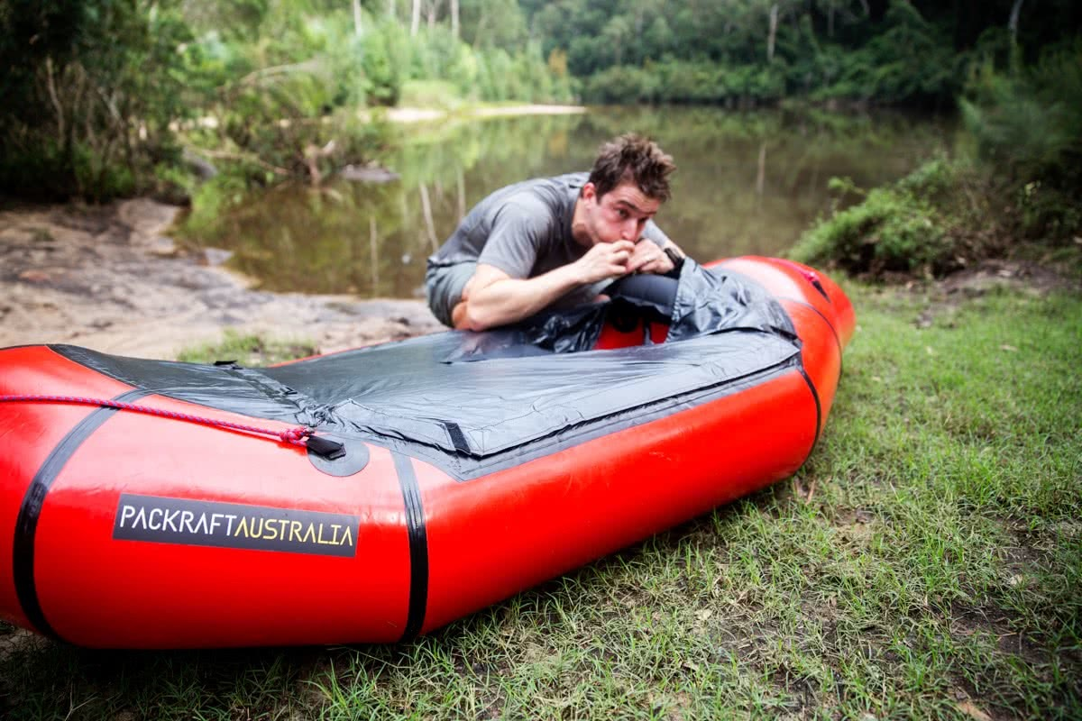 daniel bos, packrafting the colo river, blue mountains, nsw, packraft, inflating