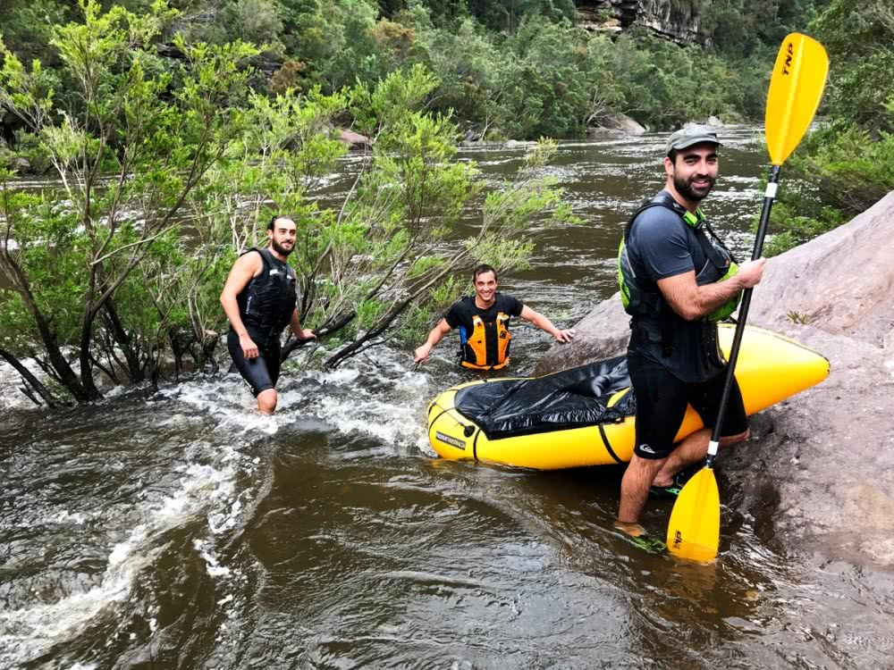 daniel bos, packrafting the colo river, blue mountains, nsw, group, portage