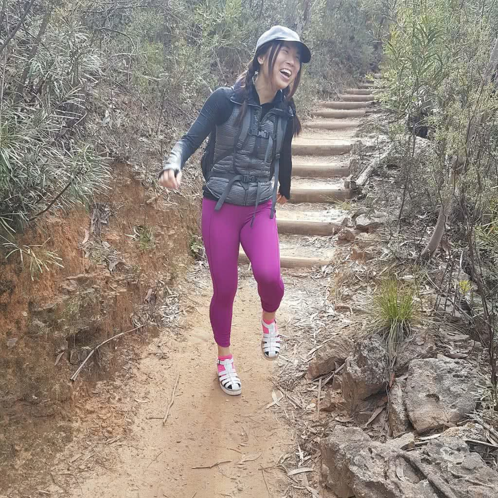 A Secret World Of Green // Grand Canyon Track (NSW), Rachel Dimond, high-heeled sandals, pink leggings, laughing, funny
