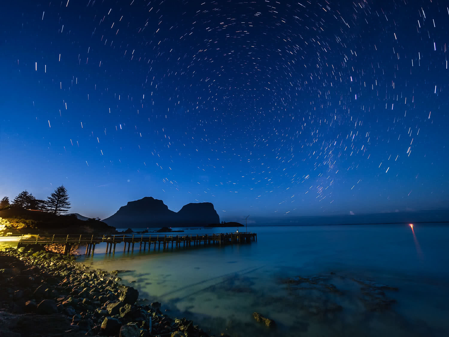 Lord Howe Island's Photography Hot Spots, Matt Horspool, pier, night sky, astrophotography, stars, clear water