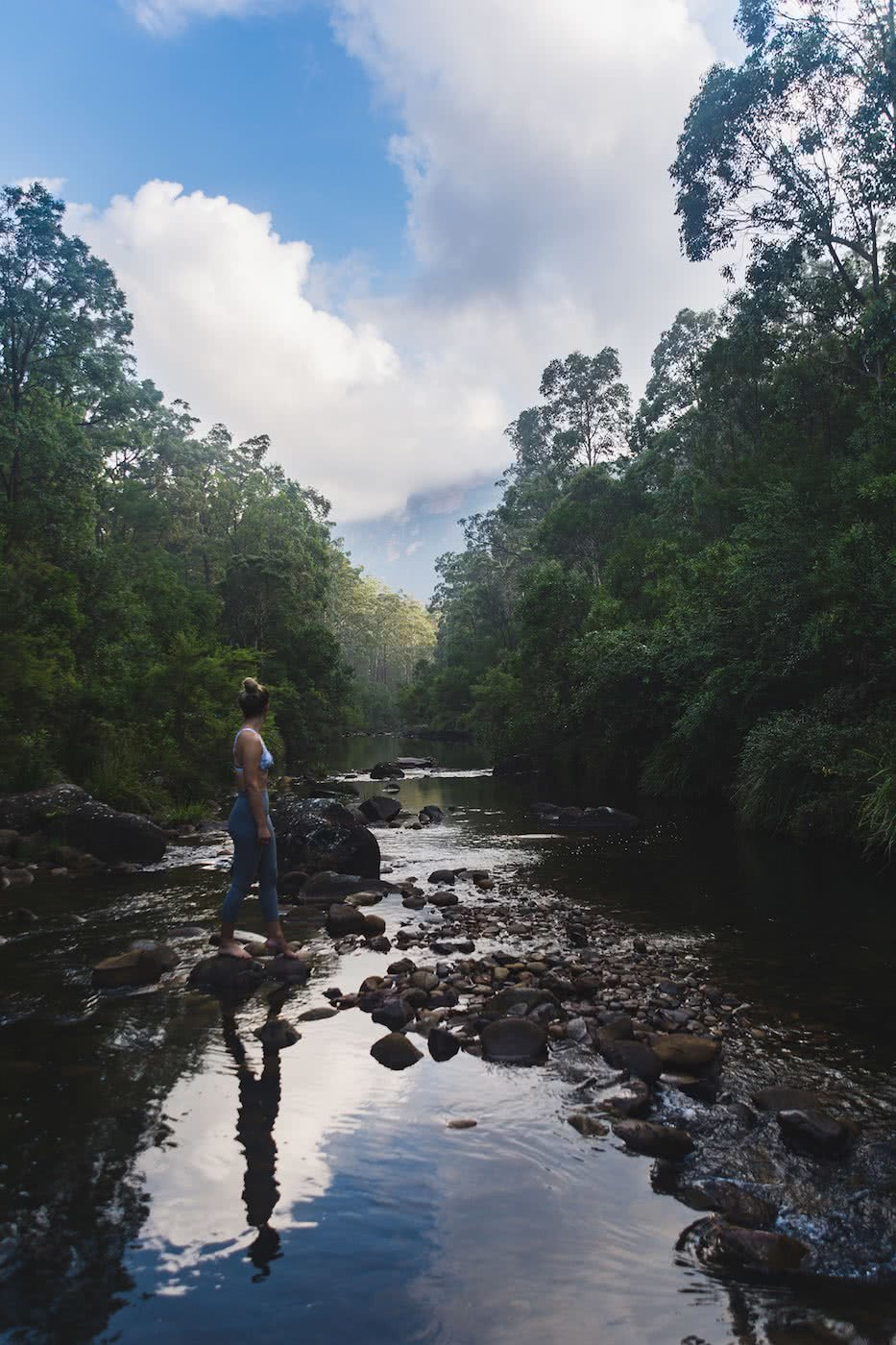 Escape From The Urban // Blackheath To Acacia Flat (NSW), Matt n Kat Pearce, Kat reflection, creek, forest