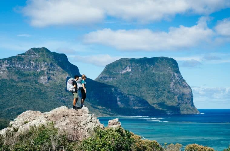Howe To Budget // Cheap Stays On Lord Howe Island, Scout Hincliffe, photo Henry Brydon, Mt Gower, hikers, view, lookout, ocean, peak