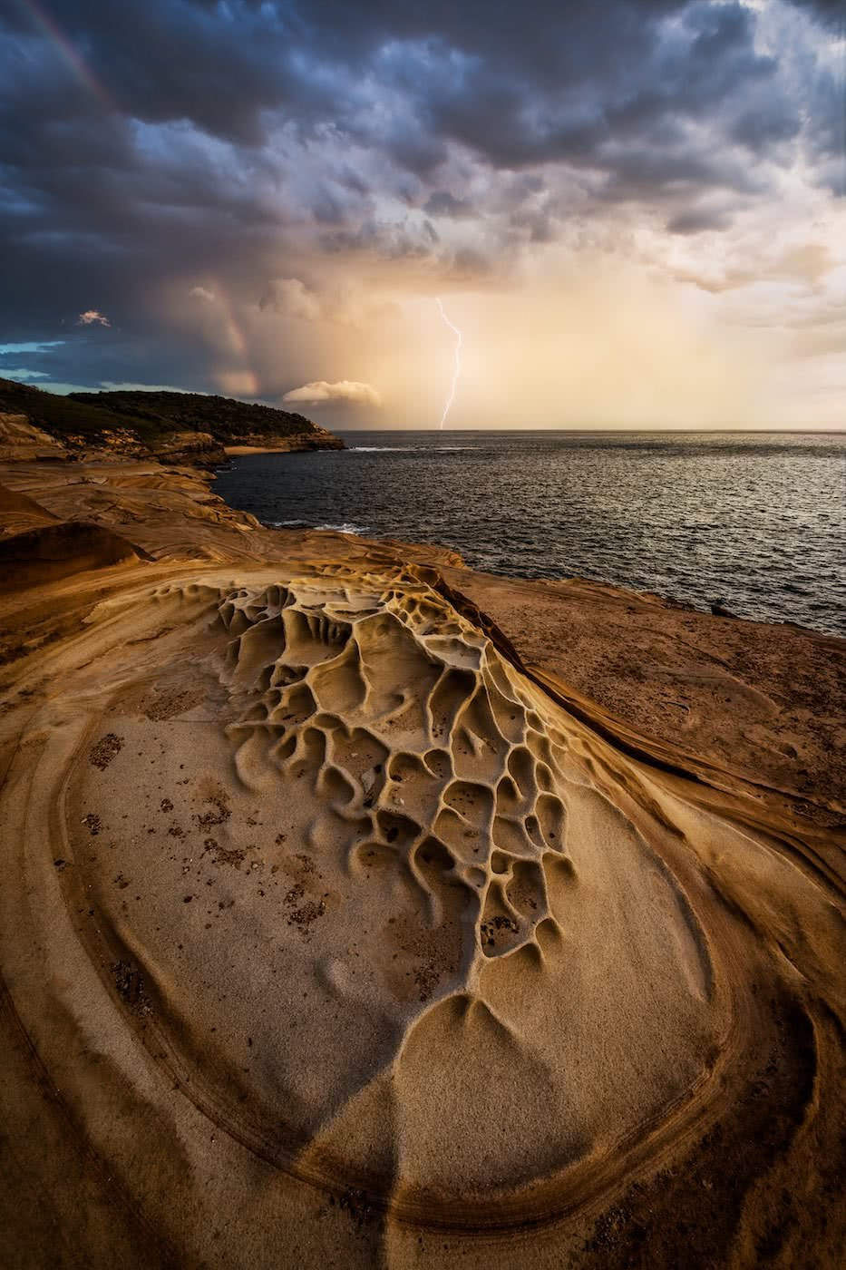 A Hiker's Guide To Lightning Safety, Xavier Anderson, photo Jake Anderson, Putty beach Storm, sandstone, rock formations, ocean, sky