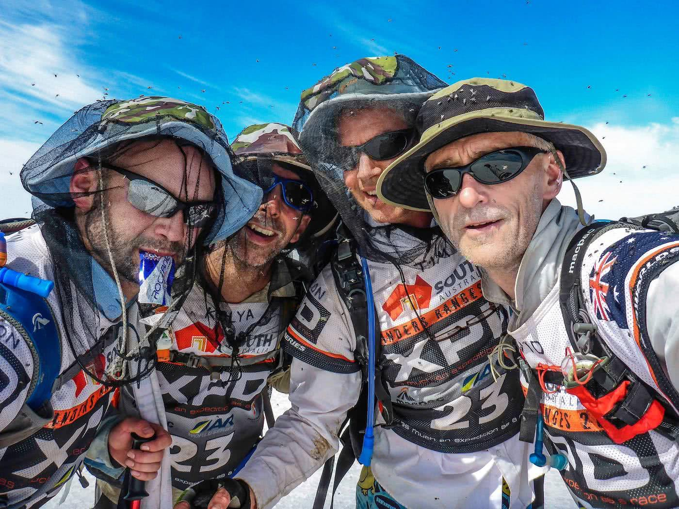 Adventure Racing 101 // How, What, Why...And Why Again? Emily Rowbotham, photo by David Barlow, Swarmed by flies, flynets, bug nets, team selfie, sunnies