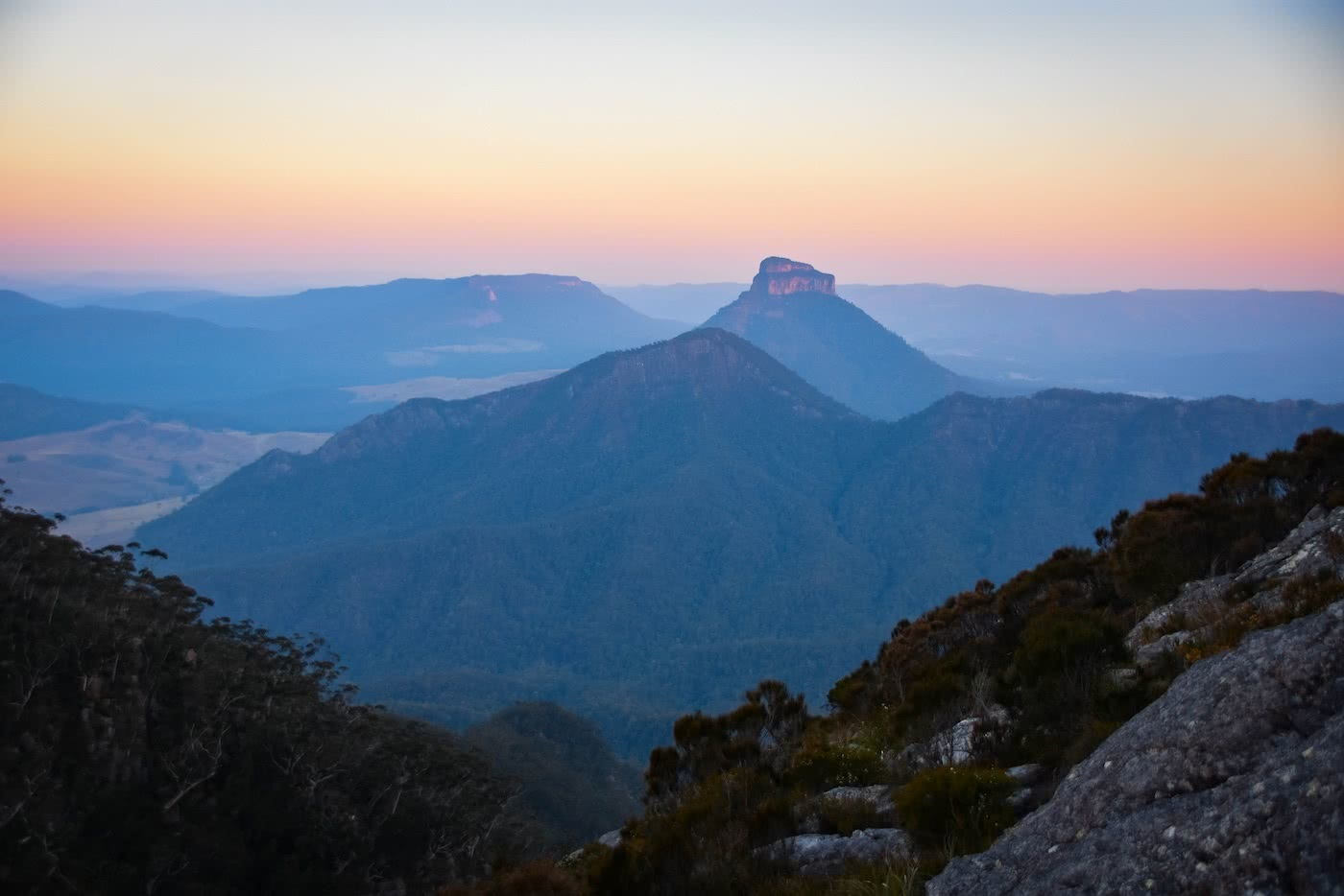My First Overnight Hike // Mt Barney (QLD), Lisa Owen, Sunset View, orange sky, mountains, distance