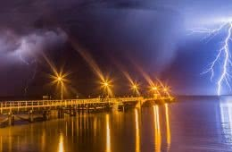 A Hiker's Guide To Lightning Safety, Xavier Anderson, port lincoln storm, photo luke gardner, pier, storm, water, reflections