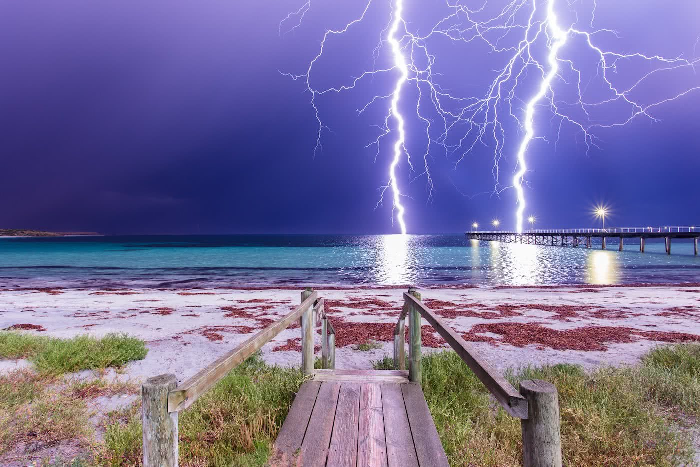 A Hiker's Guide To Lightning Safety, Xavier Anderson, photo Luke Gardner, pt neill comp, boardwalk, storm, ocean, beach, pier, dunes, hero