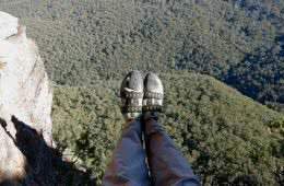 Marty Wolczyk, sweet-dreams-bardens lookout, rock climbing, blue mountains, nsw, gear review, scarpa vapor V, view