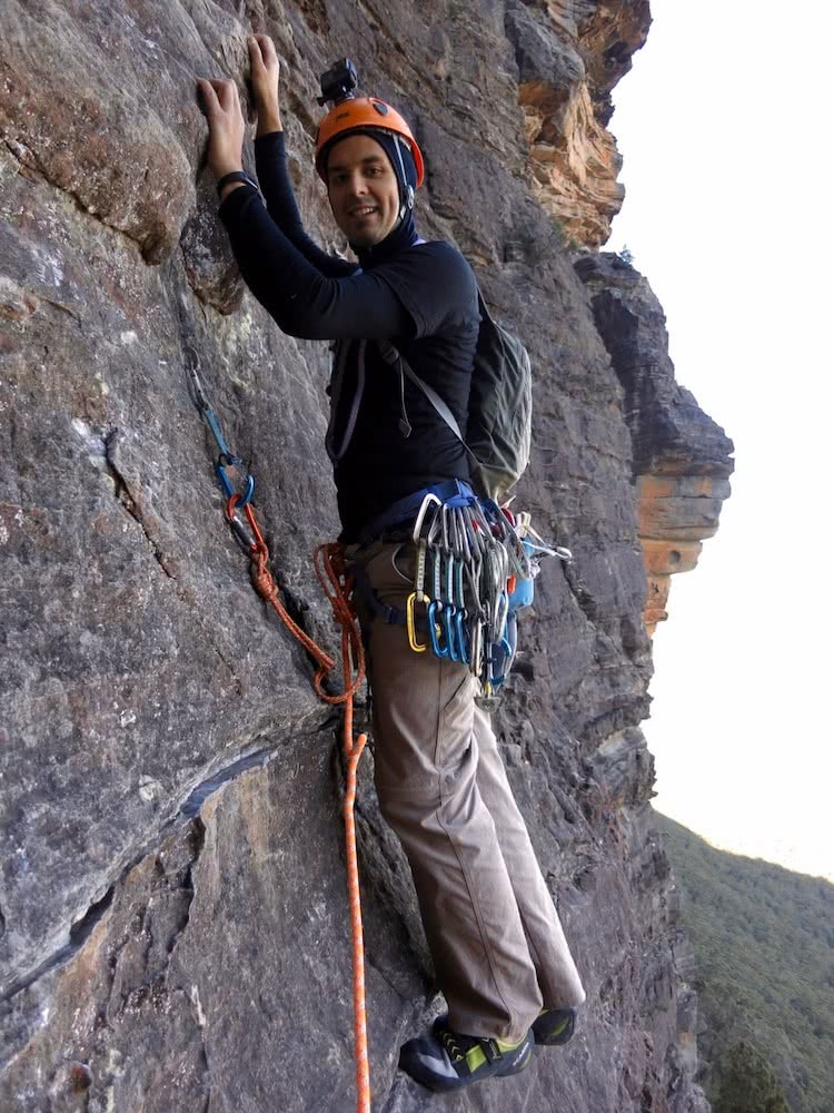 Marty Wolczyk, sweet-dreams-bardens lookout, rock climbing, blue mountains, nsw, gear review, scarpa vapor V, james stuart