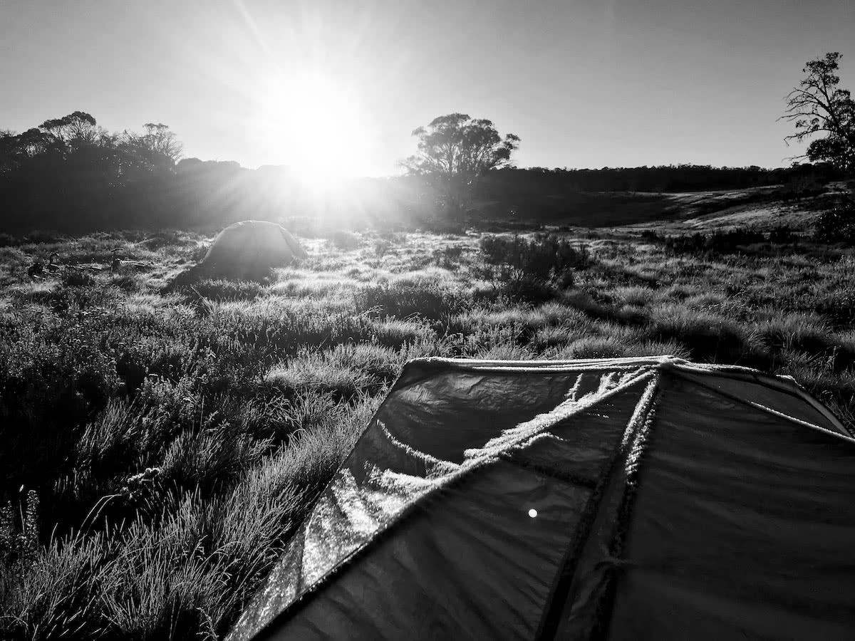 mattie gould, bikepacking, jagungal wilderness, nsw, black and white, photo essay, sunrise