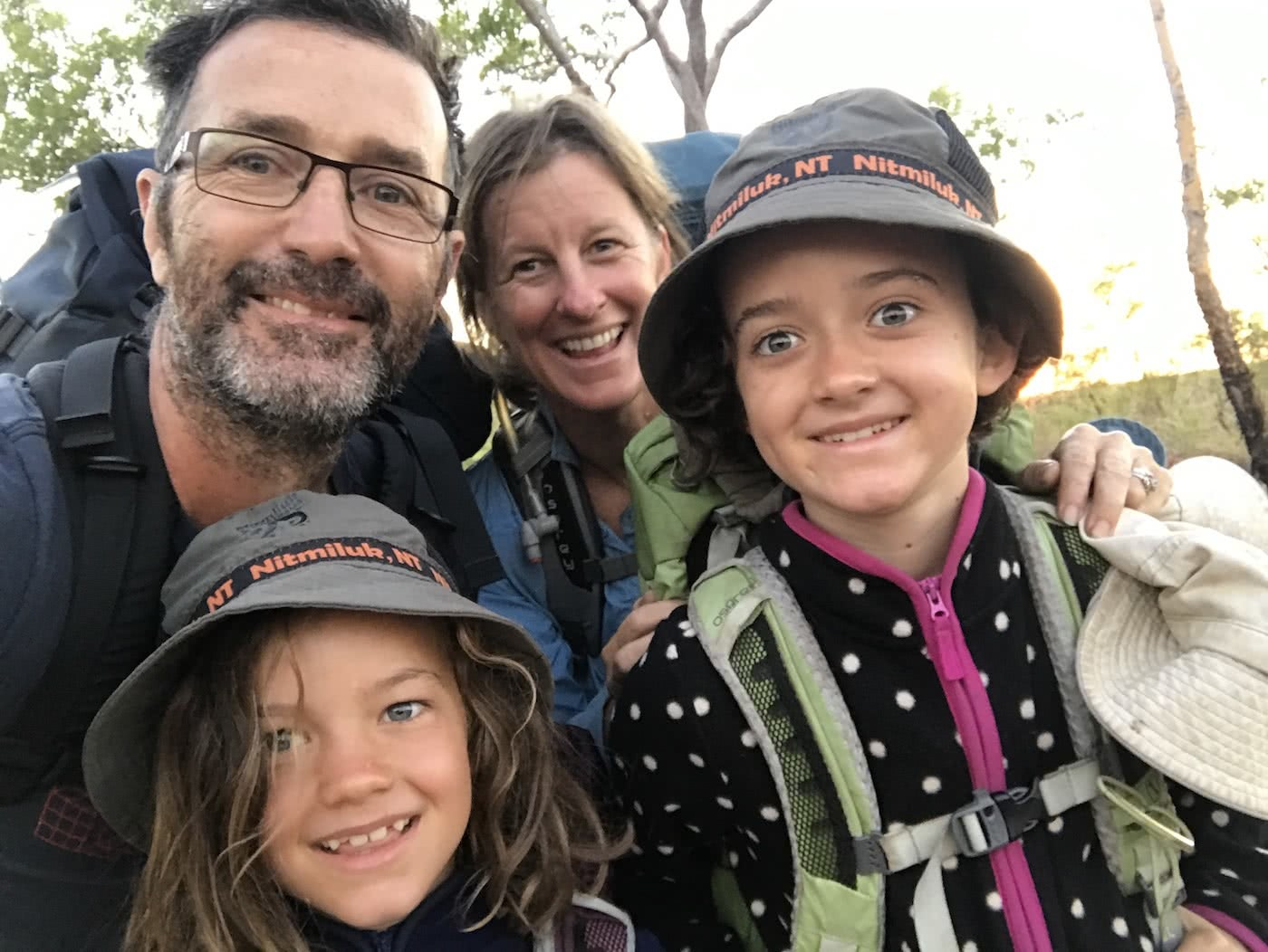 Training Kids Up For Multi-Day Hikes, Helen Cooper, family, mum, dad, smiles, selfie, faces, hikers