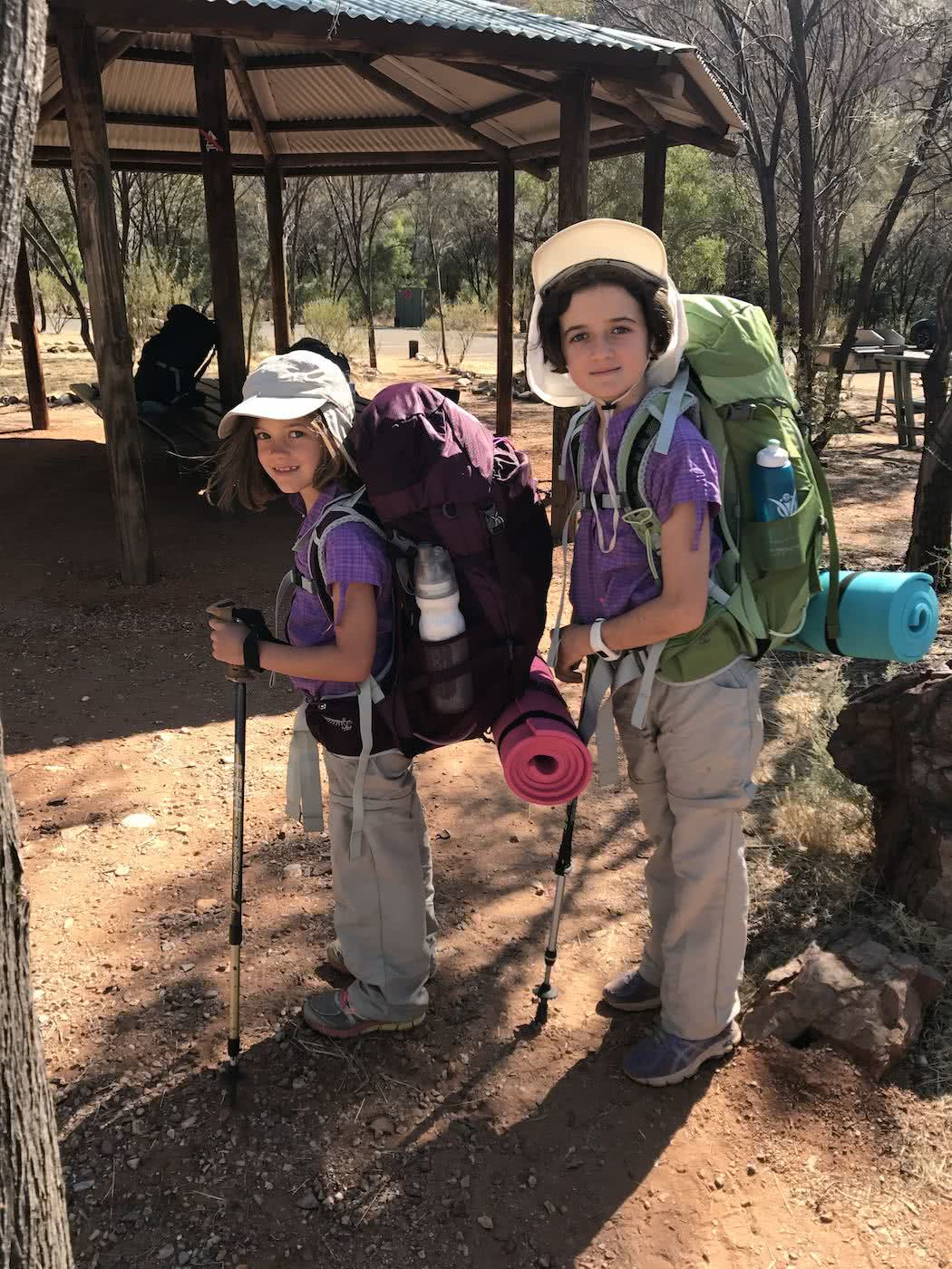Training Kids Up For Multi-Day Hikes, Helen Cooper, children. girls, hiking, backpacks, poles, sun hats