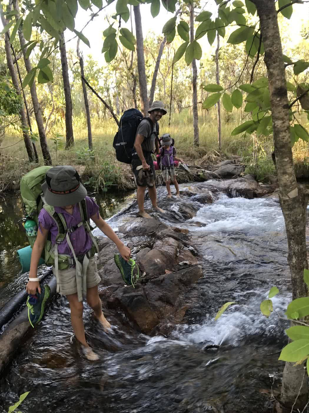 Training Kids Up For Multi-Day Hikes, Helen Cooper, river, barefoot, ford, crossing, stepping stones