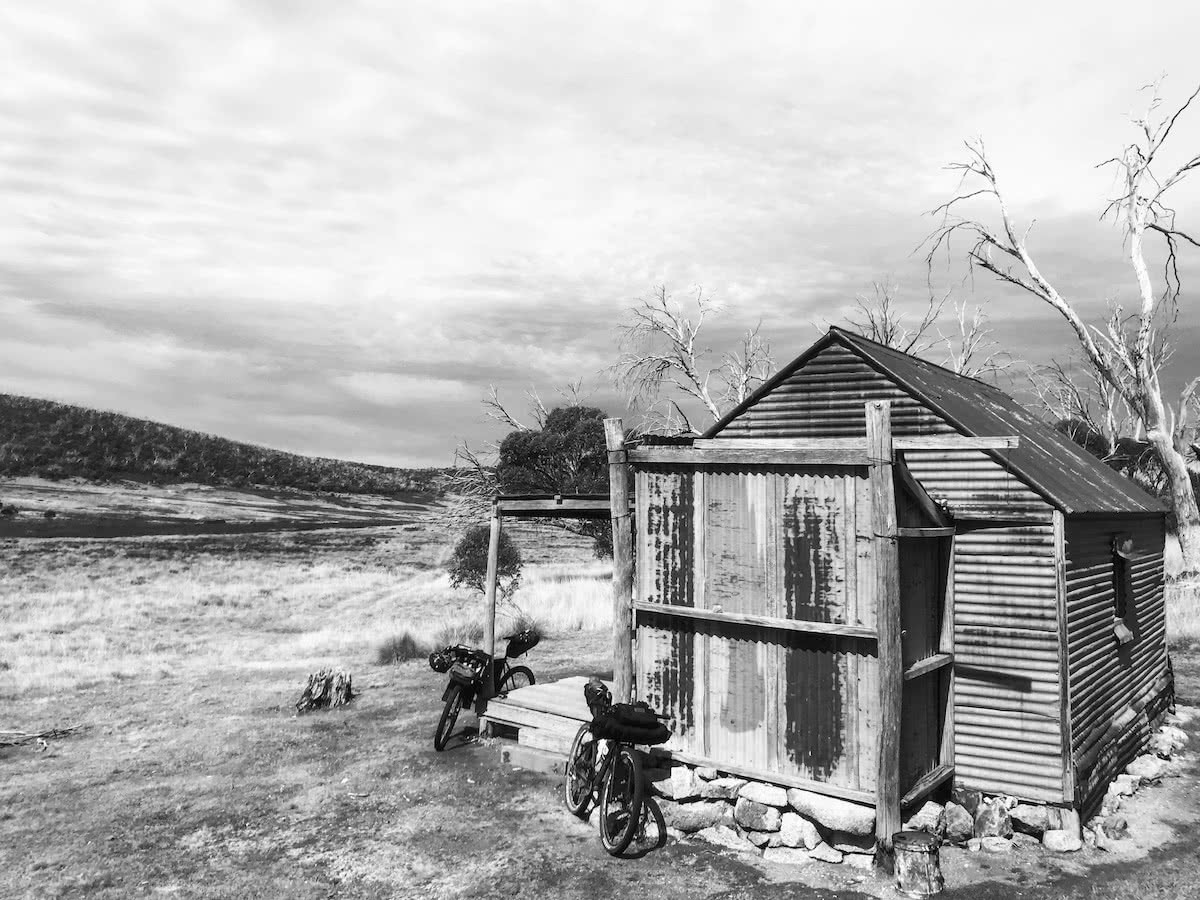 mattie gould, bikepacking, jagungal wilderness, nsw, black and white, photo essay, happy's hut