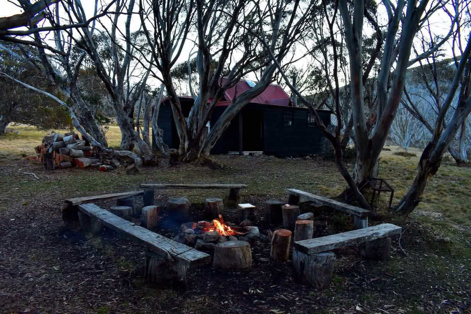 Johnston's Hut, firepit, Me and my friends, Emily Barlow, unyoked, the cabin series, hermit, stay, victoria, victorian high country, Johnston's Hut,