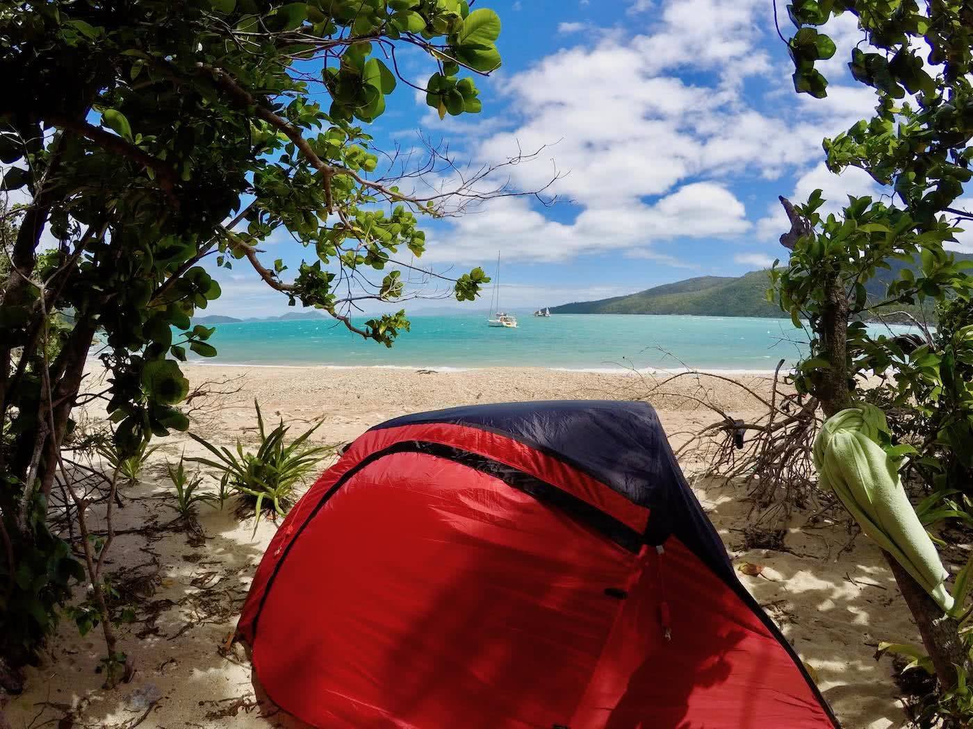 Camping The Whitsundays // Cairn Beach Campground (QLD), Solaye Snider, tent, trees, beach, ocean