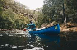 How To Share The Outdoor Stoke // Working And Volunteering Outdoors, Stuart Nicol, photo Aron Hailey, canoes, Shoalhaven River, paddle, trees
