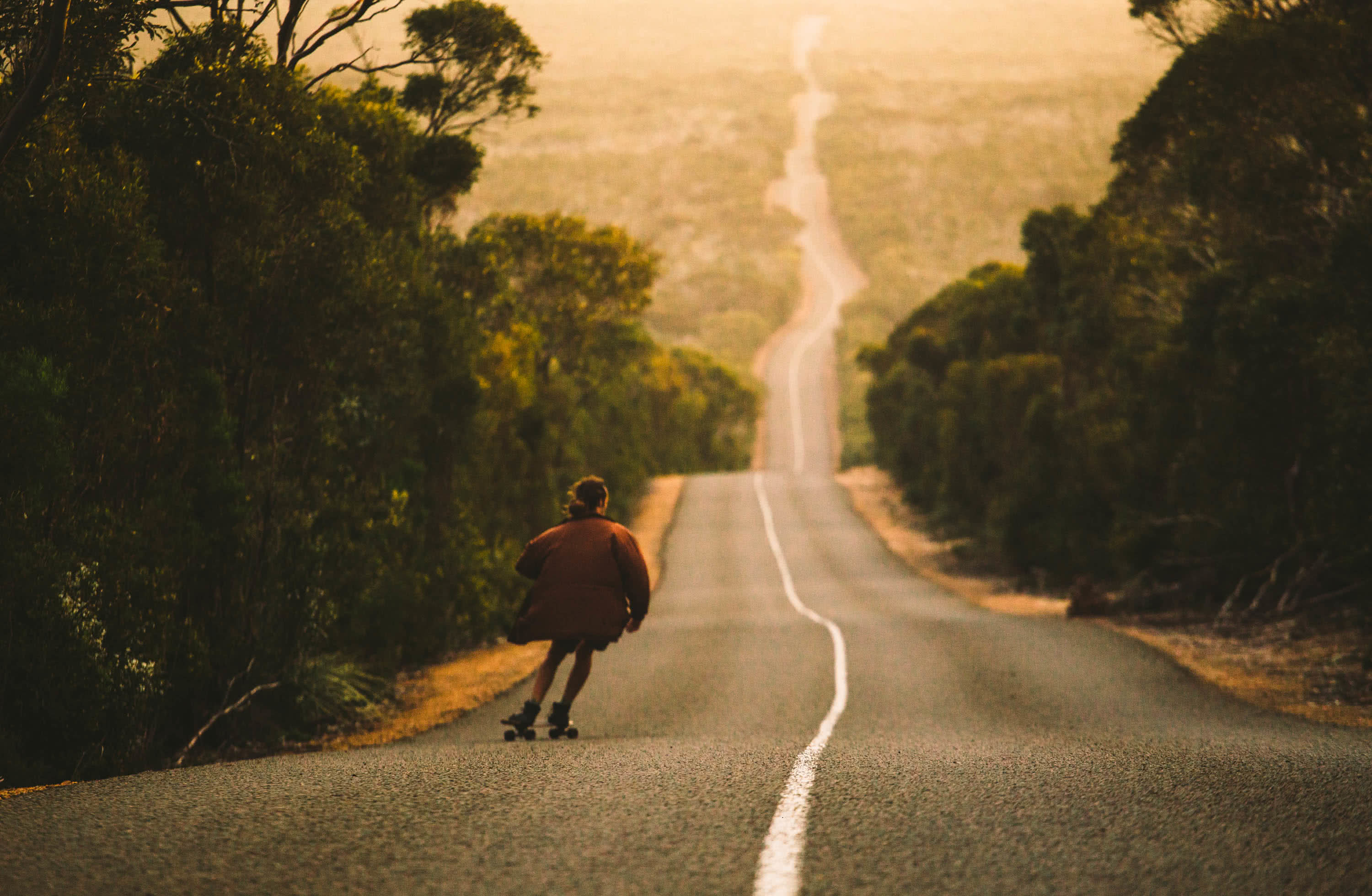 What We Learnt From 4 Years On The Road // Van Life Revisited, mitch cox, Kangaroo Island skateboard, downhill, road, distance, trees