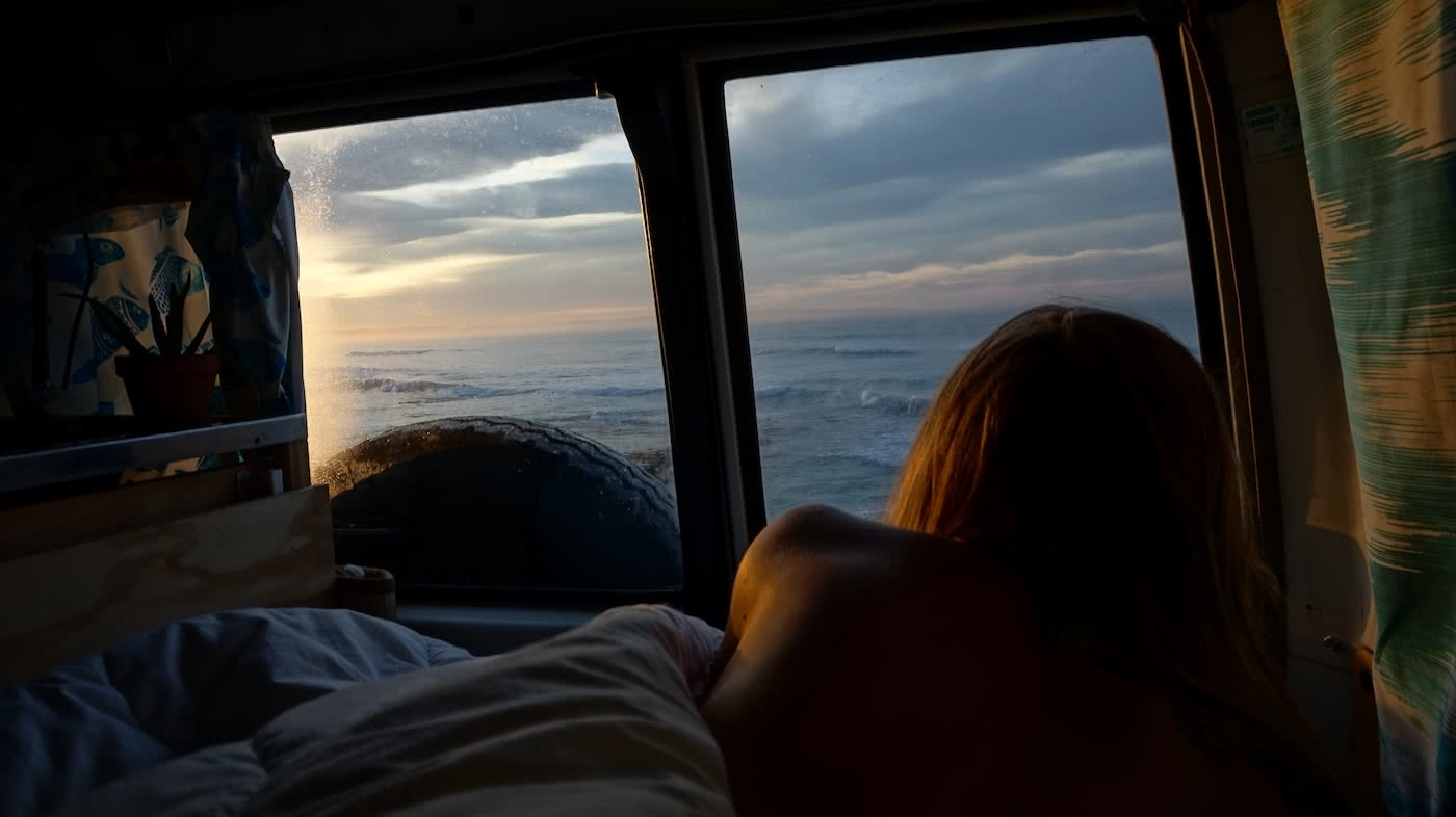 Troopy Travels // Chasing Sunsets From Byron Bay To The Ningaloo Reef, Alice Forrest, Sleaford Bay SA, photo by Angel Grimaldi, sleeping, view, bedroom, van, waking up