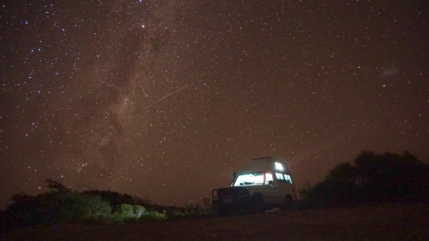 Troopy Travels // Chasing Sunsets From Byron Bay To The Ningaloo Reef, Alice Forrest, Twilight Beach-Esperance, photo by Angel Grimaldi, night time, sky, stars, van, lights