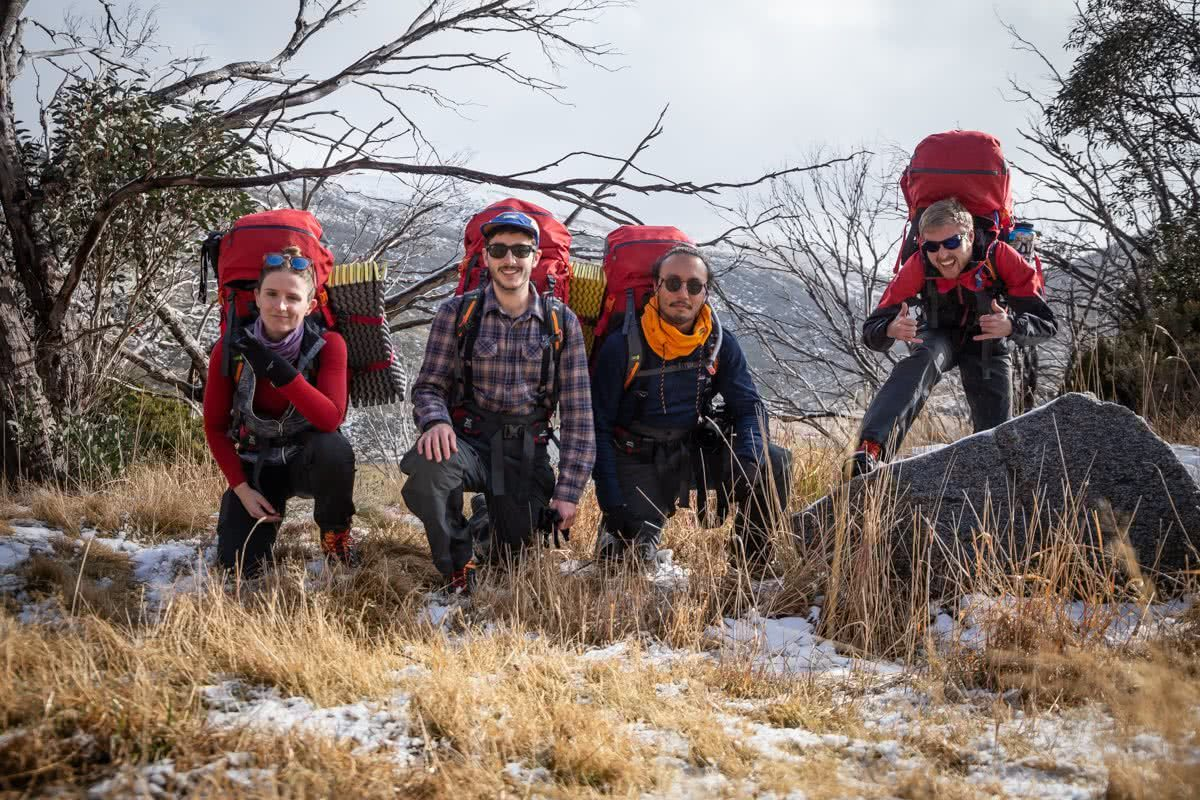 Rachel dimond, kathmandu X We Are Explorers Alpine Trip, Tips for your first winter trip into the backcountry from someone who has been there, snowy mountains Kosciuszko National Park, nsw, group shot, rap squats